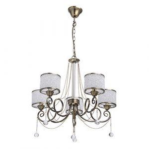 MW-Light 372013405 Lustre Suspension Moderne à 5 Lampes en Métal couleur Bronze Antique décoré de Cristaux Abat-jours en Boules Acryliques pour Chambre Salon 5x40W E14