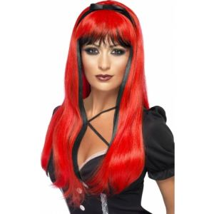 Perruque rouge et noire avec noeud noir