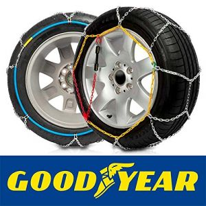 Goodyear GODKN070 - Chaines Neige, 9mm. E-9 NEO, taille 70 pour les mesures de pneus: 185/80R13, 195/70R13, 175/75R14, 175/80R14, 185/70R14, 195/65R14, 205/60R14, 165/80R15, 175/70R15, 185/65R15, 195/60R15, 205/50R15, 205/55R15, 195/50R16, 205/45R16, 205/