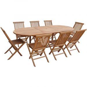 Happy Garden Salon de Jardin Lombok - Table Extensible Ovale en Teck - 8 Places
