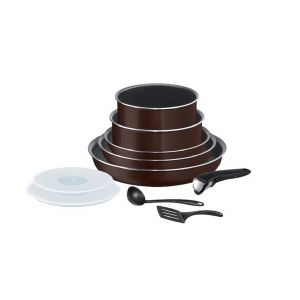 Tefal Batterie De Cuisine 10 Pc Ingenio Tous Feux Sauf Induction Marron - La Batterie