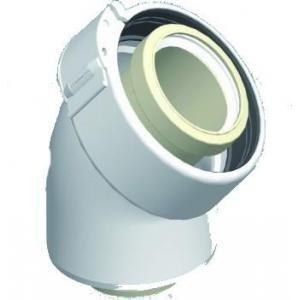 Ubbink 227200 - Coude 45° Rolux Condensation PVC diamètre 60-100 Fioul - Gaz Blanc