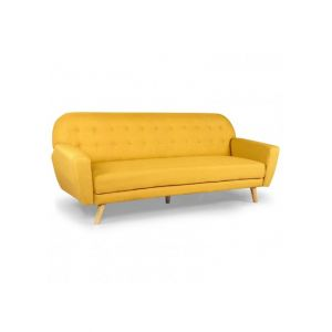 Canapé convertible scandinave tissu jaune Elliot