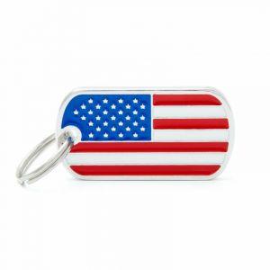 Myfamily Médaille flags drapeau U.S.A.