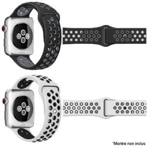 Ibroz Bracelet Apple Watch Sport 44mm noir + blanc