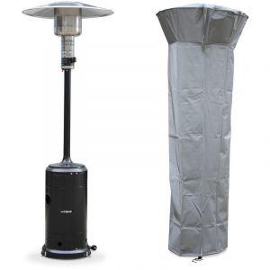 Alice's Garden Chauffage d'extérieur gaz 12,5kW - Finland - Parasol chauffant noir, réglable, porte en façade, roulettes et housse