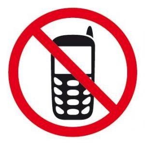 "APLI 00848 - Picto ""Usage du téléphone interdit"" adhésif 114 x 114 mm"