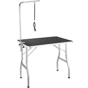 TecTake Table de Toilettage Pliante avec Sangle de Maintien et Surface de Travail Antidérapante Noir et Gris 402892