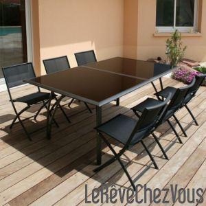 DCB Factory Table de jardin avec allonge en aluminium et plateau en verre 180/240 x 110 x 73 cm
