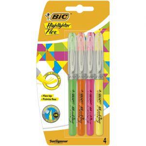 Bic Surligneurs - pochette de 4 - pointe pinceau - coloris assortis : jaune/orange/rose/vert