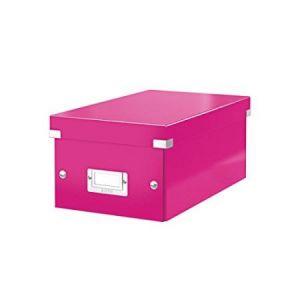 Leitz 6042-00-23 - Boîte de rangement Click & Store, format DVD, en PP, coloris rose métallique
