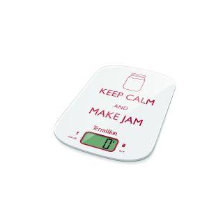 Terraillon Balance de Cuisine, Tare, Conversions Liquides, Fonction Confiture, Fonction Pause, Portée 6 kg, NeoCook Jam Keep Calm, Blanc
