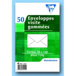 Clairefontaine 3421C - Sachet de 50 enveloppes Adhéclair blanches, fond gris, gommée, 120 g/m², FT30