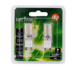 Nityam Pack de 2 capsules Led G9 3W équivalent à 25W