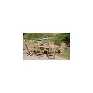 Table de jardin en teck avec 4 chaises et 2 fauteuils