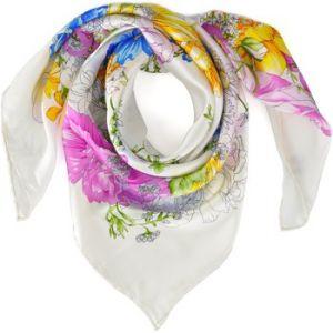 Allée du foulard Carré de soie Premium Arabesque florale blanc