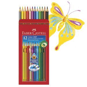 Faber-Castell 112412 - 12 Crayons de couleur Grip assortis