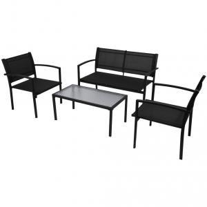 VidaXL Jeu de mobilier jardin 4 pièces avec banc noir