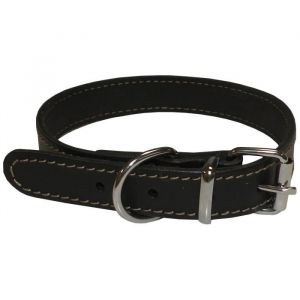 YAGO Collier en cuir - Taille M 34-40 cm - Noir - Pour moyen chien