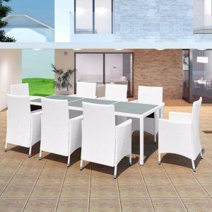 VidaXL Mobilier de jardin 17 pièces Rotin synthétique Blanc-crème