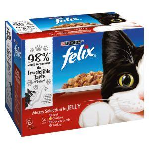 Felix 12x100g sélection à la viande en gelée - Nourriture pour Chat