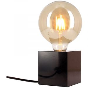 Xanlite Lampe à poser cube en marbre noir + ampoule globe G125 vintage incluse