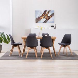 VidaXL Chaise de salle à manger 6 pcs Gris foncé Tissu