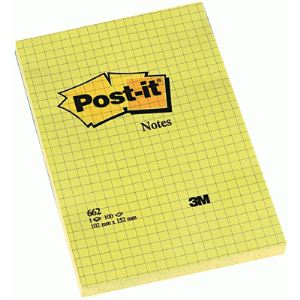 Post-It 6 Notes repositionnables 100 feuilles quadrillé (102x152 mm)