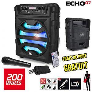 """My deejay Enceinte ECHO07 autonome batterie à LED - 200W 8"""" - USB/SD/BT + Micro + Télécommande"""