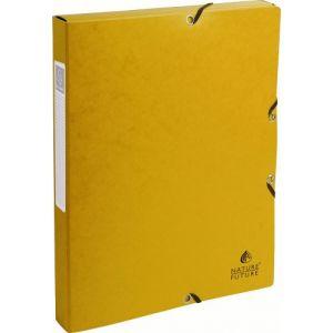 Exacompta 50309E - Boîte à élastique EXABOX, carte lustrée, dos de 25, coloris jaune