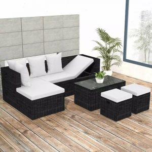 VidaXL Ensemble de canapé d'angle pour jardin 12 pcs rotin poly noir