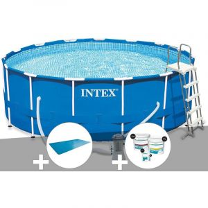 Intex Kit piscine tubulaire Metal Frame ronde 4,57 x 1,22 m + Bâche à bulles + Kit de traitement au chlore