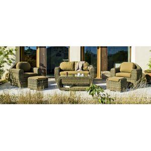 Nabab Borsalino S9 - Salon de jardin en résine tressée avec coussin