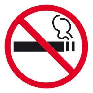 """APLI 00845 - Picto """"Interdit de fumer"""" adhésif 114 x 114 mm"""