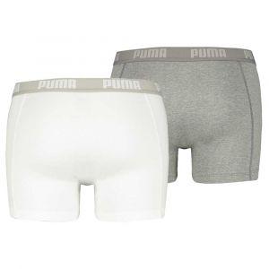 Puma Vêtements intérieurs -underwear Basic Boxer 2 Pack - White / Grey Melange - Taille XXL