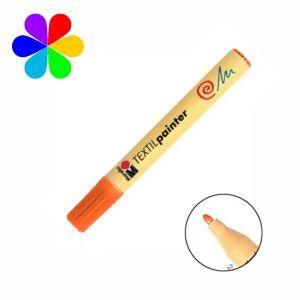 Marabu 011703013 - Marqueur pour tissu Textil Painter, orange, pointe ogive 2-4 mm