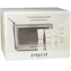 Payot Kit voyage Visage & corps : Lait micellaire démaquillant, Hydra 24 crème glacée, gommage amandes, crème lavante douce
