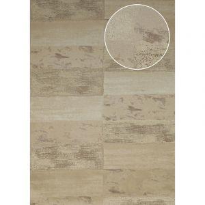 Atlas Papier peint aspect pierre carrelage ICO-2705-4 papier peint intissé lisse avec un dessin nature satiné beige ivoire-clair beige gris 7,035 m2