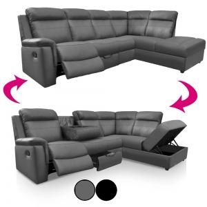 Canapé d'angle gauche Ringwood avec relax rangements et porte-gobelets en simili cuir
