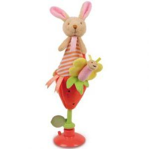 Doudou et Compagnie Lapin fraise - Doudou marotte avec ventouse
