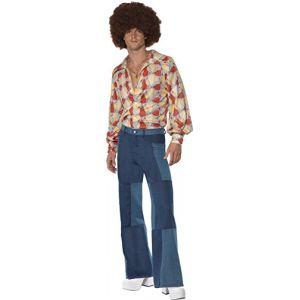 Smiffy's 22277L Déguisement Homme Costume Rétro Années 70, Bleu, Taille L