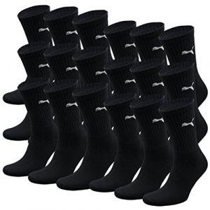 Puma Sport - Chaussettes de Sport - Lot de 3 - À Logo - Homme - Noir - 39-42 EU