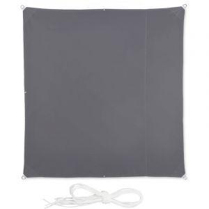 Relaxdays Voile d'ombrage carré diffuseur d'ombre protection soleil balcon jardin UV lxP; 2x2 m toile imperméable, gris
