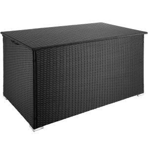 TecTake Coffre de Jardin de Rangement extérieur 950 L en Résine tressée et Aluminium Noir