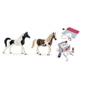 Schleich Figurines de chevaux (pintabian, pinto) et accessoires (pharmacie d'écurie, couverture et licol)