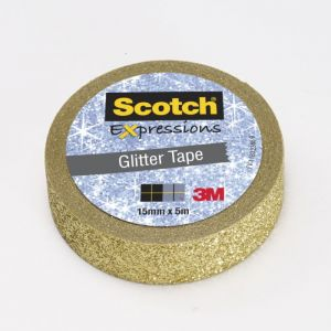 Scotch Ruban masking tape Expression - 15 mm x 5 m - pailleté doré