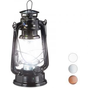 Relaxdays Noire Lanterne tempête LED, retro comme décoration de fenêtre ou lampe jardin, à piles