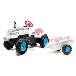Falk Tracteur à pédales Butterfly Farmer avec remorque et capot ouvrant