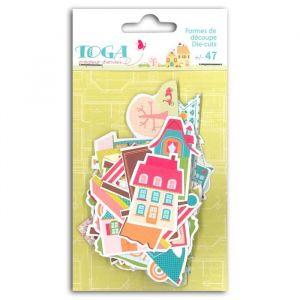 Toga FPD32 Home Sweet Home Lot de 47 Formes Découpées Die-Cuts Papier Bleu/Vert/Rose/Orange 8,5 x 15,5 x 1 cm