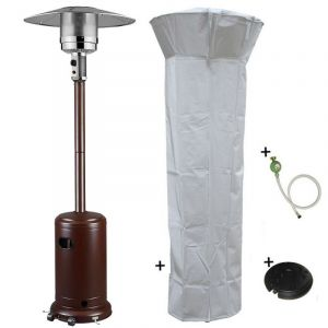 Image de Proweltek Parasol chauffant gaz 14kW Brun martelé Radiateur de terrasse (inclus housse, lest et connectique)
